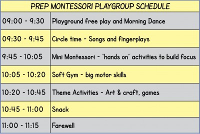 Playgroup schedule InDesign